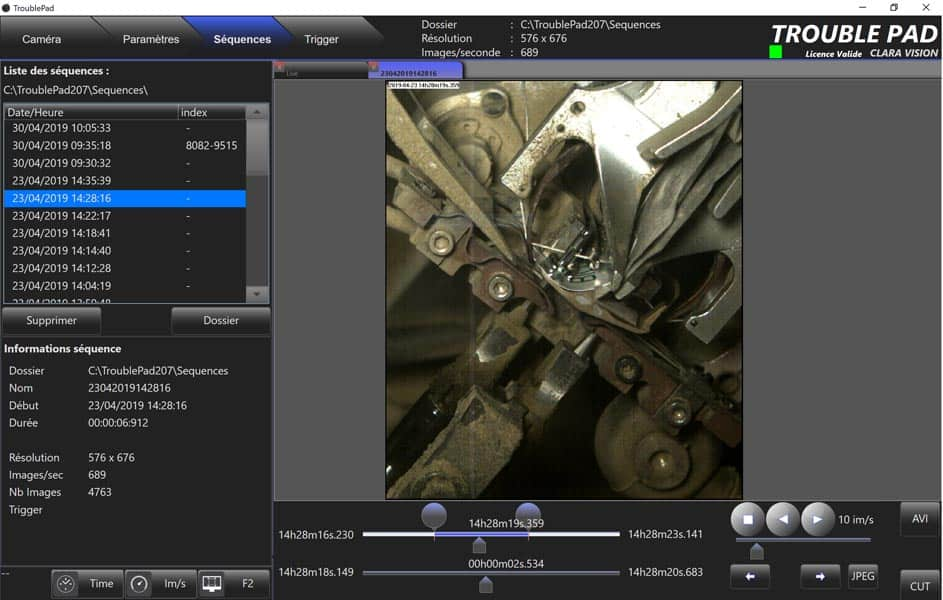 logiciel cameras rapides troublepad interface