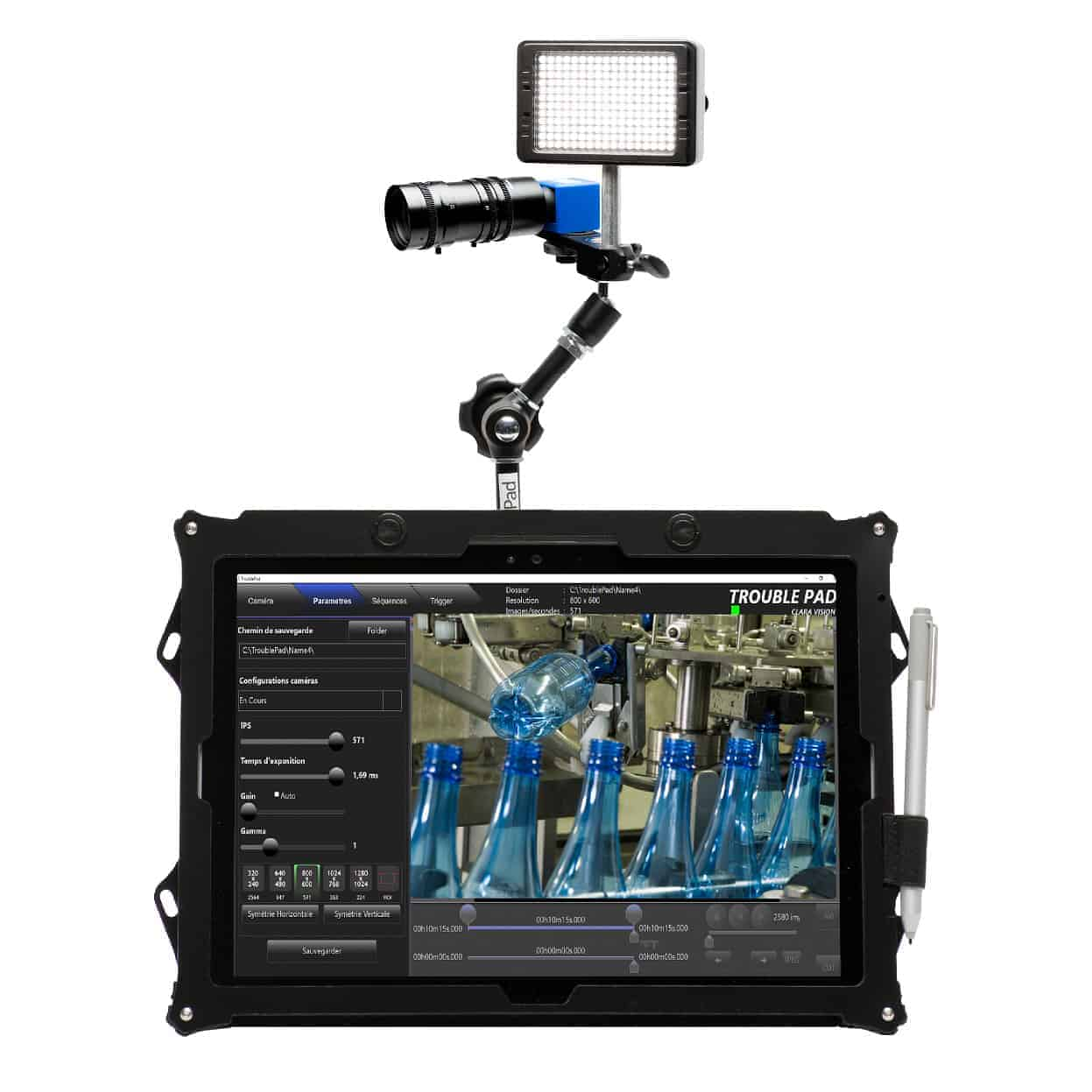 High speed camera with touchscreen tablet